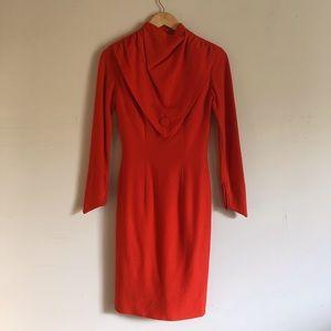 Red wool wiggle dress